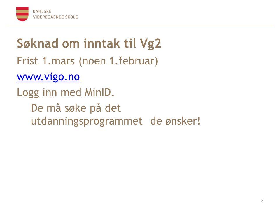 Søknad om inntak til Vg2 Frist 1.mars (noen 1.februar) www.vigo.no Logg inn med MinID.
