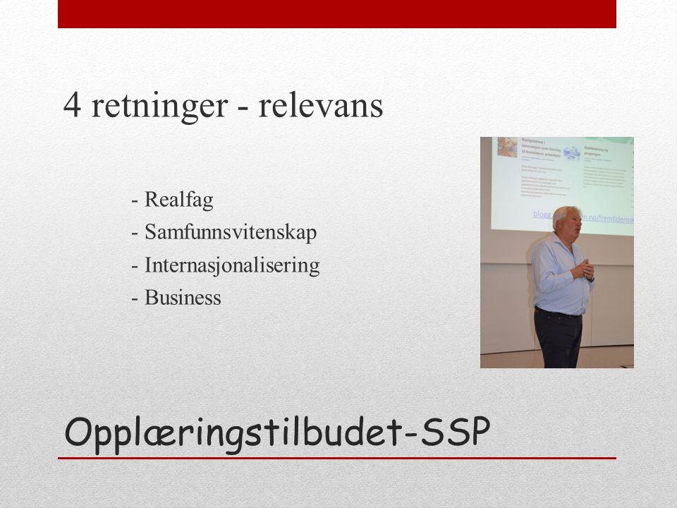 Opplæringstilbudet-SSP 4 retninger - relevans - Realfag - Samfunnsvitenskap - Internasjonalisering - Business