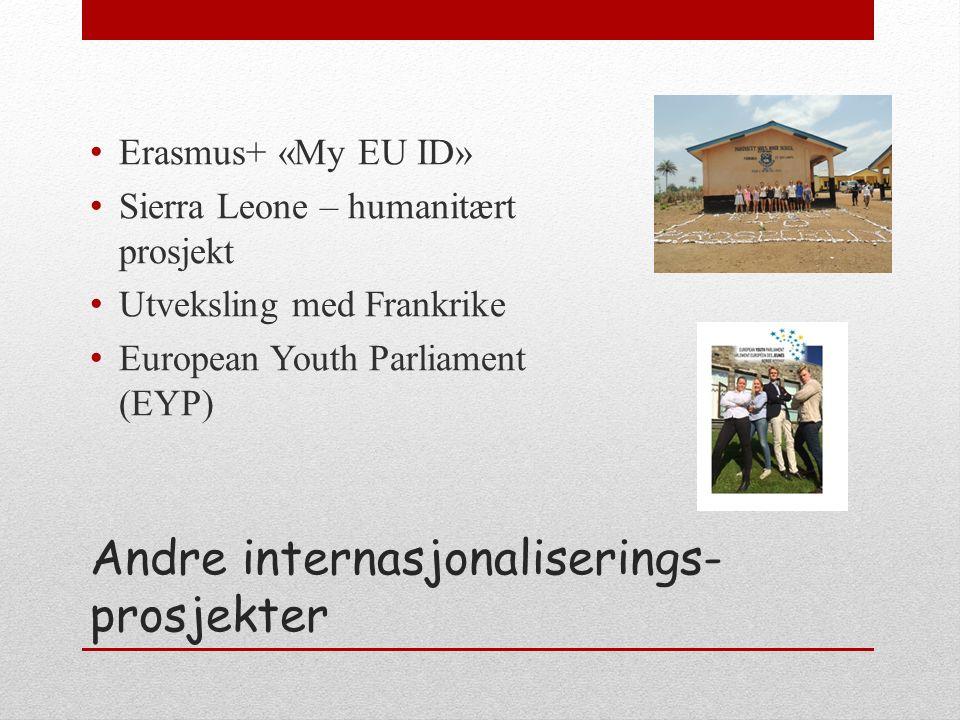 Andre internasjonaliserings- prosjekter Erasmus+ «My EU ID» Sierra Leone – humanitært prosjekt Utveksling med Frankrike European Youth Parliament (EYP)