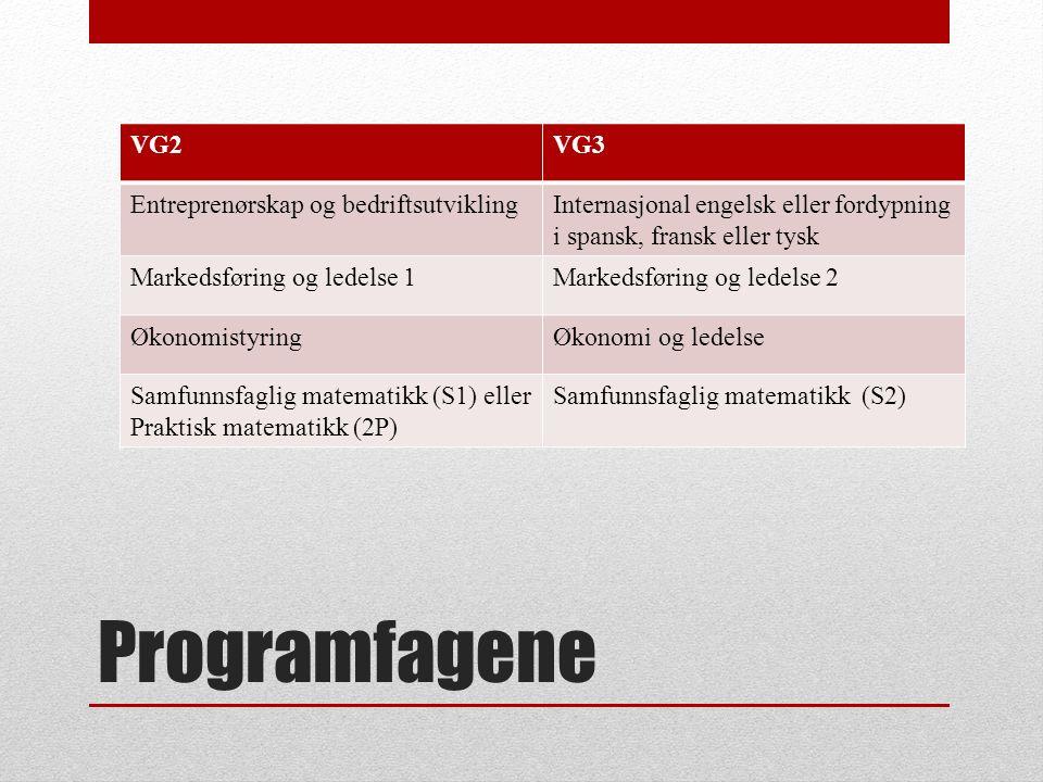 Programfagene VG2VG3 Entreprenørskap og bedriftsutviklingInternasjonal engelsk eller fordypning i spansk, fransk eller tysk Markedsføring og ledelse 1Markedsføring og ledelse 2 ØkonomistyringØkonomi og ledelse Samfunnsfaglig matematikk (S1) eller Praktisk matematikk (2P) Samfunnsfaglig matematikk (S2)