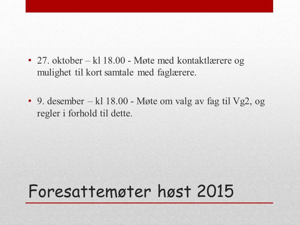 Foresattemøter høst 2015 27.