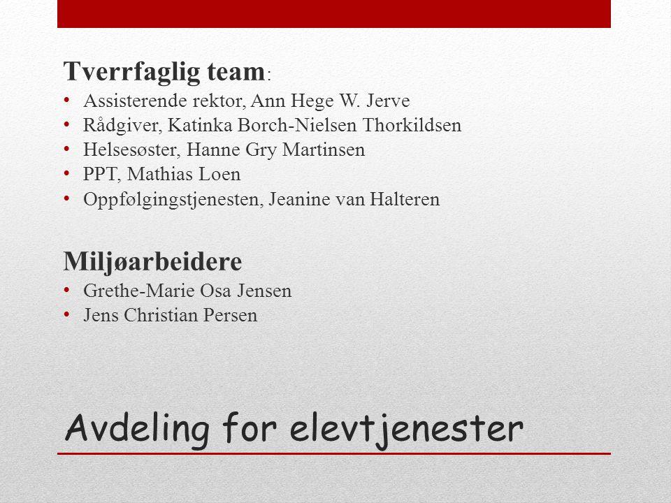 Avdeling for elevtjenester Tverrfaglig team : Assisterende rektor, Ann Hege W.