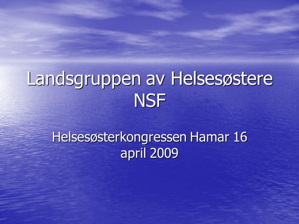 Landsgruppen av Helsesøstere NSF Helsesøsterkongressen Hamar 16 april 2009