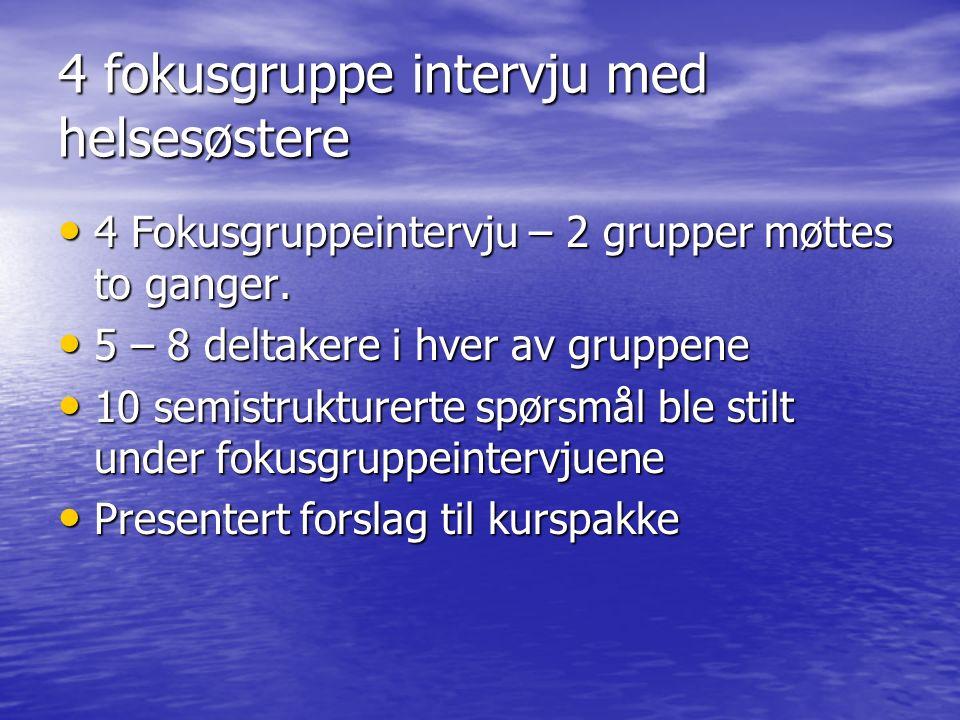 4 fokusgruppe intervju med helsesøstere 4 Fokusgruppeintervju – 2 grupper møttes to ganger. 4 Fokusgruppeintervju – 2 grupper møttes to ganger. 5 – 8
