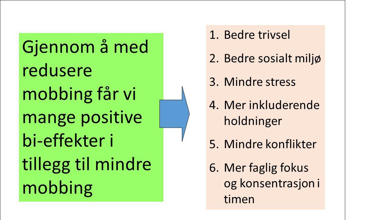 Gjennom å med redusere mobbing får vi mange positive bi-effekter i tillegg til mindre mobbing 1.Bedre trivsel 2.Bedre sosialt miljø 3.Mindre stress 4.Mer inkluderende holdninger 5.Mindre konflikter 6.Mer faglig fokus og konsentrasjon i timen