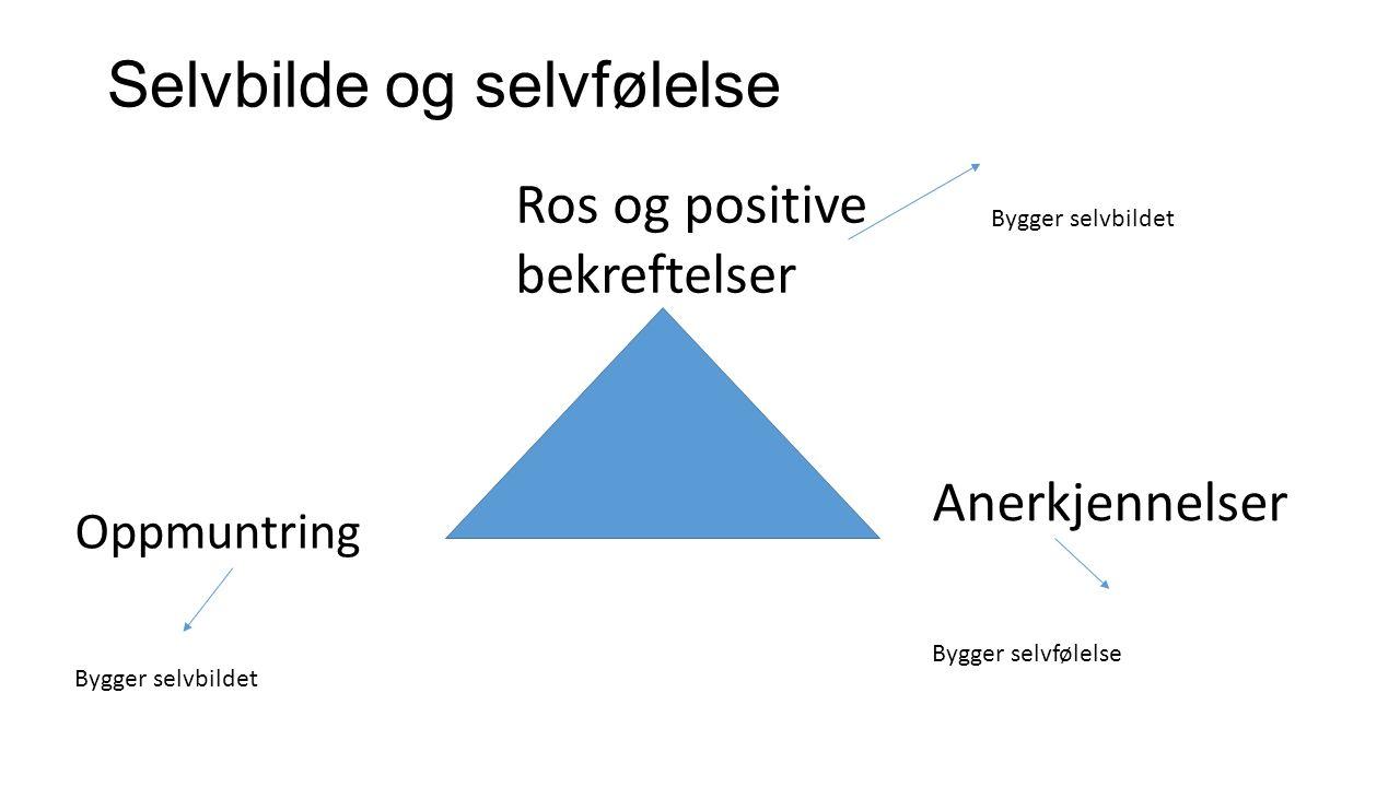 Selvbilde og selvfølelse Ros og positive bekreftelser Anerkjennelser Oppmuntring Bygger selvbildet Bygger selvfølelse