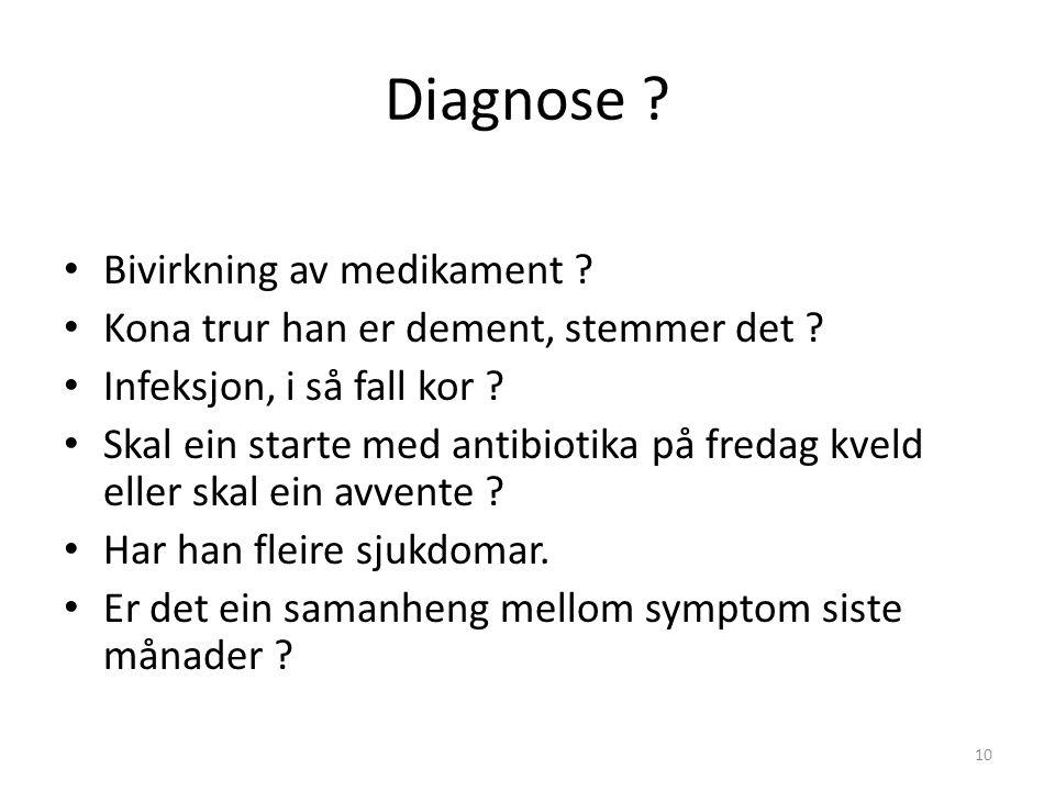 Diagnose . Bivirkning av medikament . Kona trur han er dement, stemmer det .