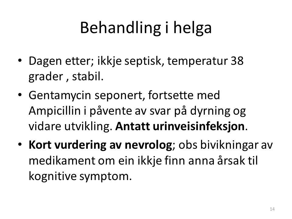 Behandling i helga Dagen etter; ikkje septisk, temperatur 38 grader, stabil. Gentamycin seponert, fortsette med Ampicillin i påvente av svar på dyrnin