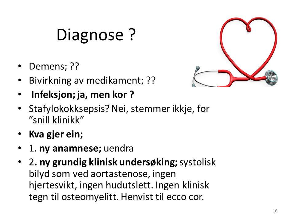 Diagnose . Demens; . Bivirkning av medikament; .
