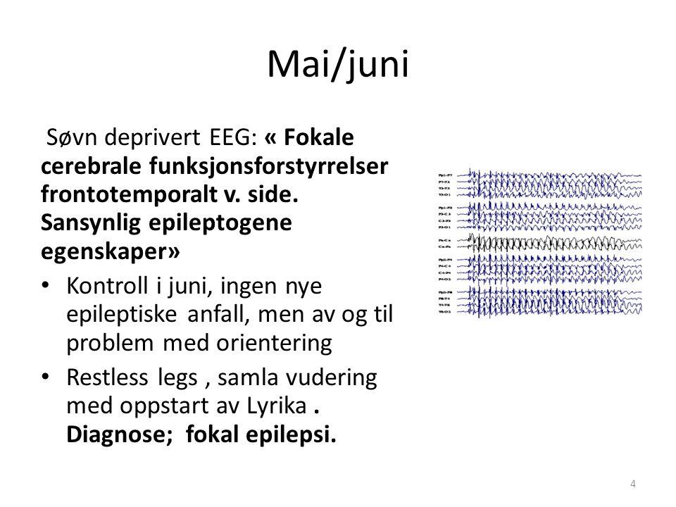 Mai/juni Søvn deprivert EEG: « Fokale cerebrale funksjonsforstyrrelser frontotemporalt v. side. Sansynlig epileptogene egenskaper» Kontroll i juni, in