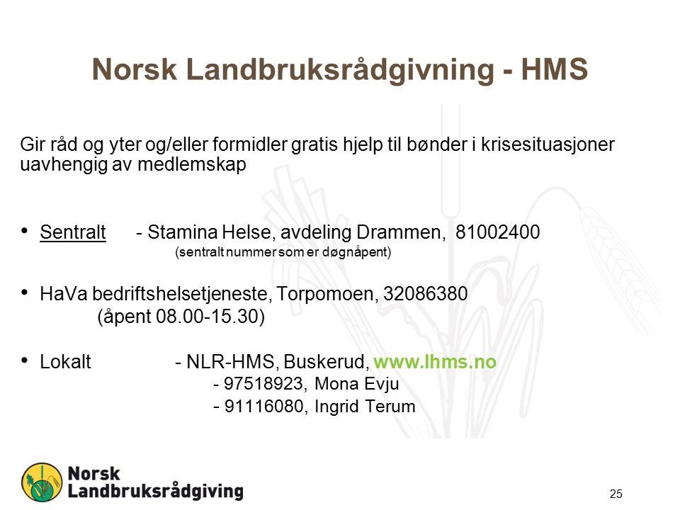 Norsk Landbruksrådgivning - HMS Gir råd og yter og/eller formidler gratis hjelp til bønder i krisesituasjoner uavhengig av medlemskap Sentralt - Stamina Helse, avdeling Drammen, 81002400 (sentralt nummer som er døgnåpent) HaVa bedriftshelsetjeneste, Torpomoen, 32086380 (åpent 08.00-15.30) Lokalt- NLR-HMS, Buskerud, www.lhms.no - 97518923, Mona Evju - 91116080, Ingrid Terum 25