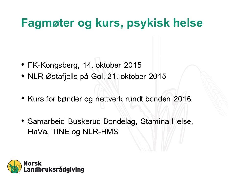 Fagmøter og kurs, psykisk helse FK-Kongsberg, 14. oktober 2015 NLR Østafjells på Gol, 21.