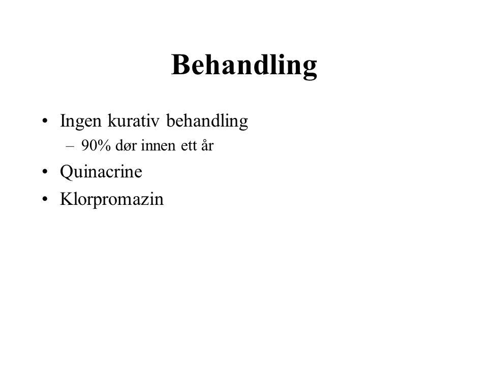 Behandling Ingen kurativ behandling –90% dør innen ett år Quinacrine Klorpromazin