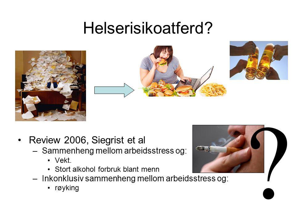 Helserisikoatferd. Review 2006, Siegrist et al –Sammenheng mellom arbeidsstress og: Vekt.