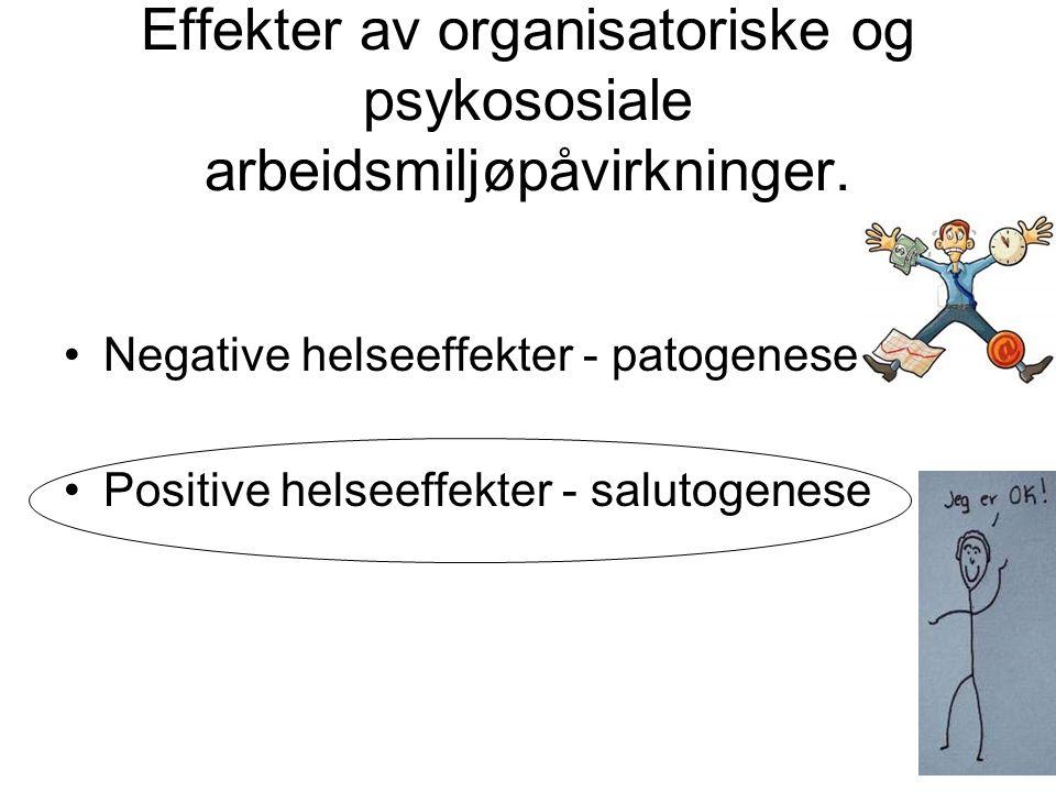 Effekter av organisatoriske og psykososiale arbeidsmiljøpåvirkninger.