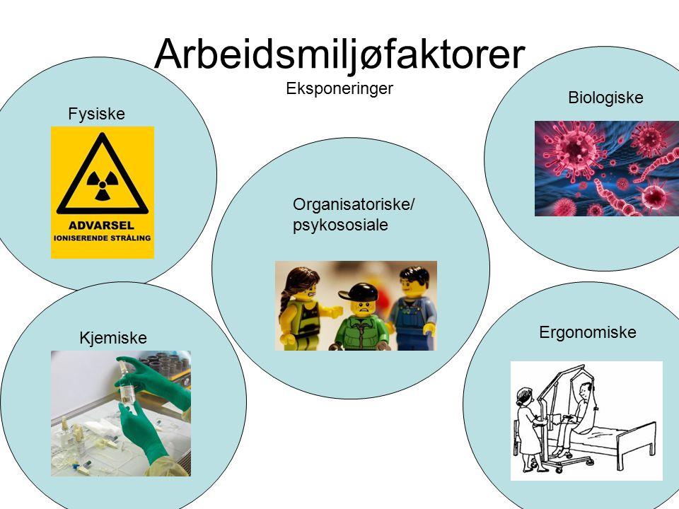 Arbeidsmiljøfaktorer Eksponeringer Organisatoriske/ psykososiale Biologiske Fysiske Kjemiske Ergonomiske