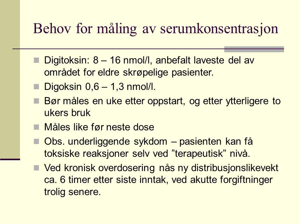 Behov for måling av serumkonsentrasjon Digitoksin: 8 – 16 nmol/l, anbefalt laveste del av området for eldre skrøpelige pasienter.