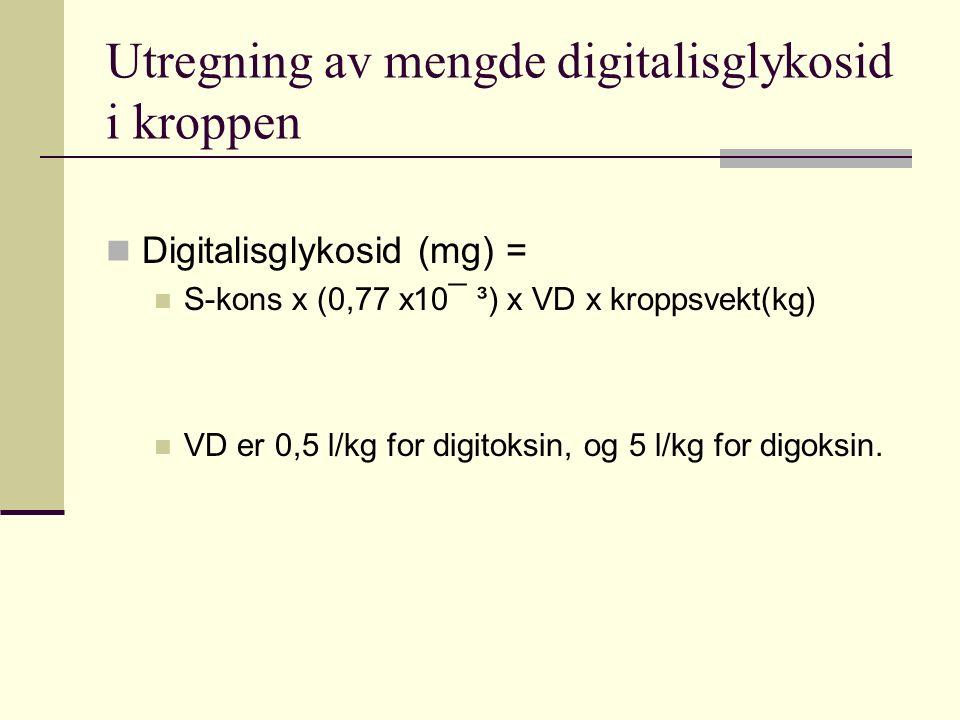 Utregning av mengde digitalisglykosid i kroppen Digitalisglykosid (mg) = S-kons x (0,77 x10¯ ³) x VD x kroppsvekt(kg) VD er 0,5 l/kg for digitoksin, og 5 l/kg for digoksin.
