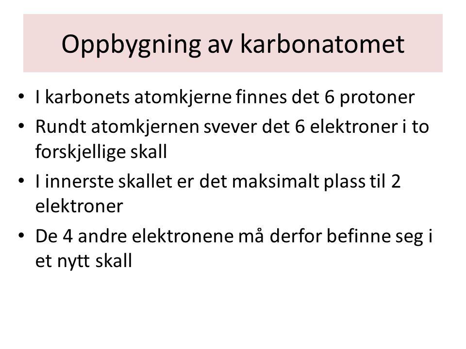 Oppbygning av oksygenatomet I oksygenets atomkjerne finnes det 8 protoner Rundt atomkjernen svever det 8 elektroner i to forskjellige skall I det innerste skallet er det maksimalt plass til 2 elektroner De 6 andre elektronene må derfor befinne seg i et nytt skall