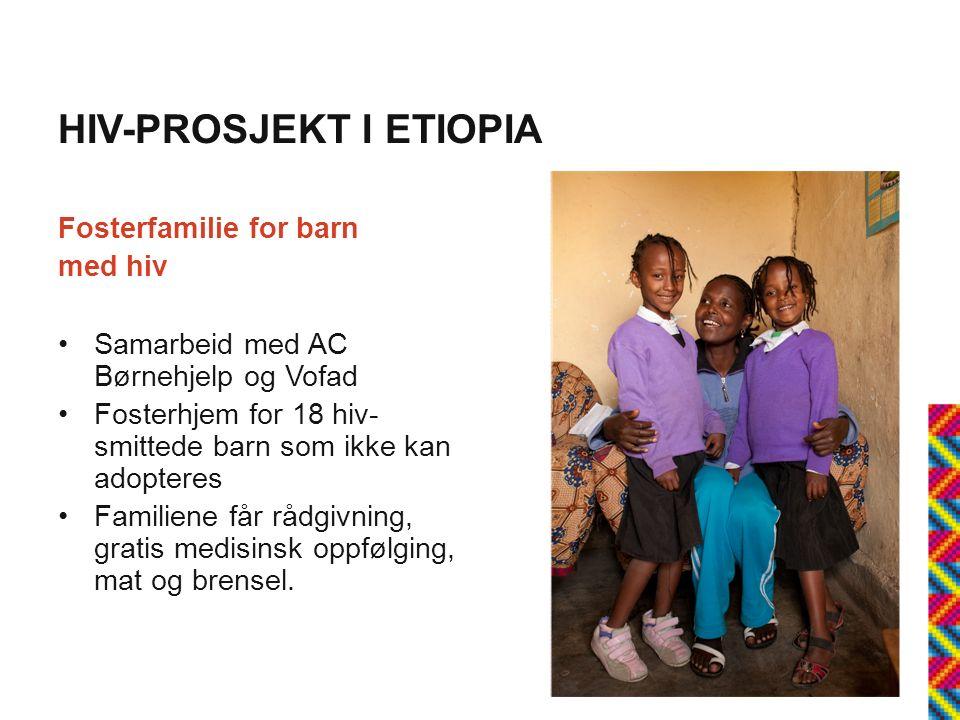 HIV-PROSJEKT I ETIOPIA Fosterfamilie for barn med hiv Samarbeid med AC Børnehjelp og Vofad Fosterhjem for 18 hiv- smittede barn som ikke kan adopteres Familiene får rådgivning, gratis medisinsk oppfølging, mat og brensel.