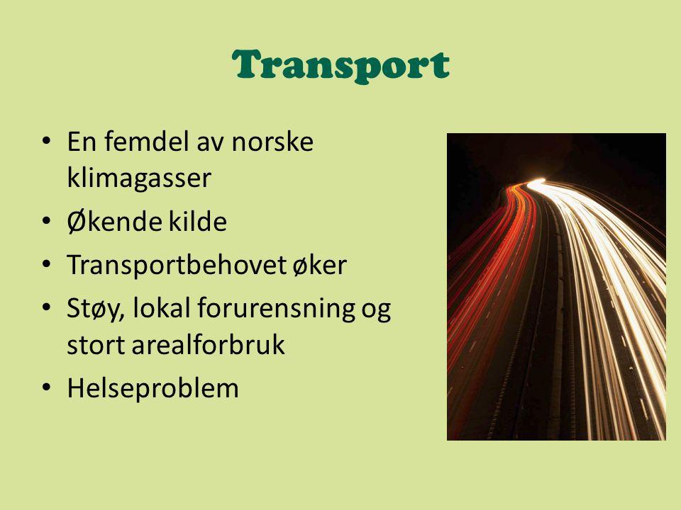 Transport En femdel av norske klimagasser Økende kilde Transportbehovet øker Støy, lokal forurensning og stort arealforbruk Helseproblem