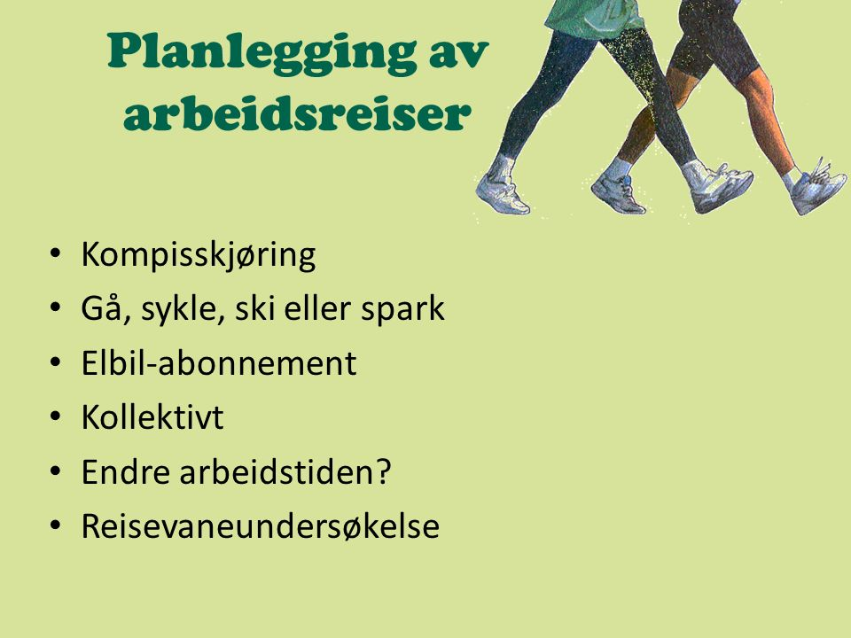 Planlegging av arbeidsreiser Kompisskjøring Gå, sykle, ski eller spark Elbil-abonnement Kollektivt Endre arbeidstiden? Reisevaneundersøkelse