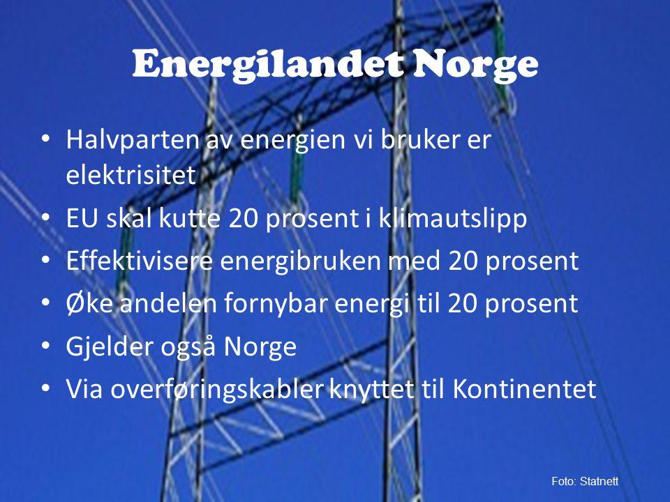Energilandet Norge Halvparten av energien vi bruker er elektrisitet EU skal kutte 20 prosent i klimautslipp Effektivisere energibruken med 20 prosent