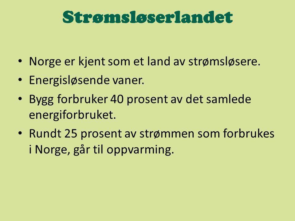 Strømsløserlandet Norge er kjent som et land av strømsløsere. Energisløsende vaner. Bygg forbruker 40 prosent av det samlede energiforbruket. Rundt 25