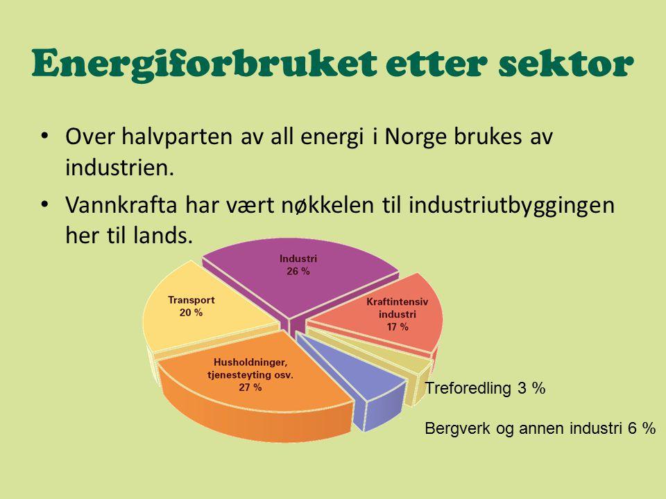 Energiforbruket etter sektor Over halvparten av all energi i Norge brukes av industrien. Vannkrafta har vært nøkkelen til industriutbyggingen her til