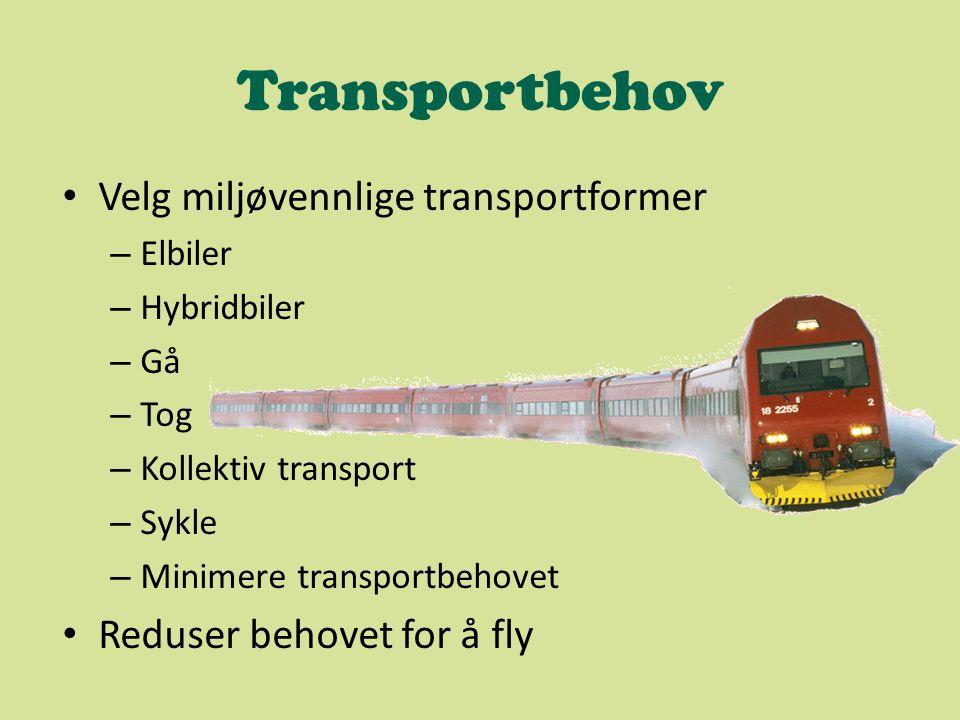 Transportbehov Velg miljøvennlige transportformer – Elbiler – Hybridbiler – Gå – Tog – Kollektiv transport – Sykle – Minimere transportbehovet Reduser behovet for å fly
