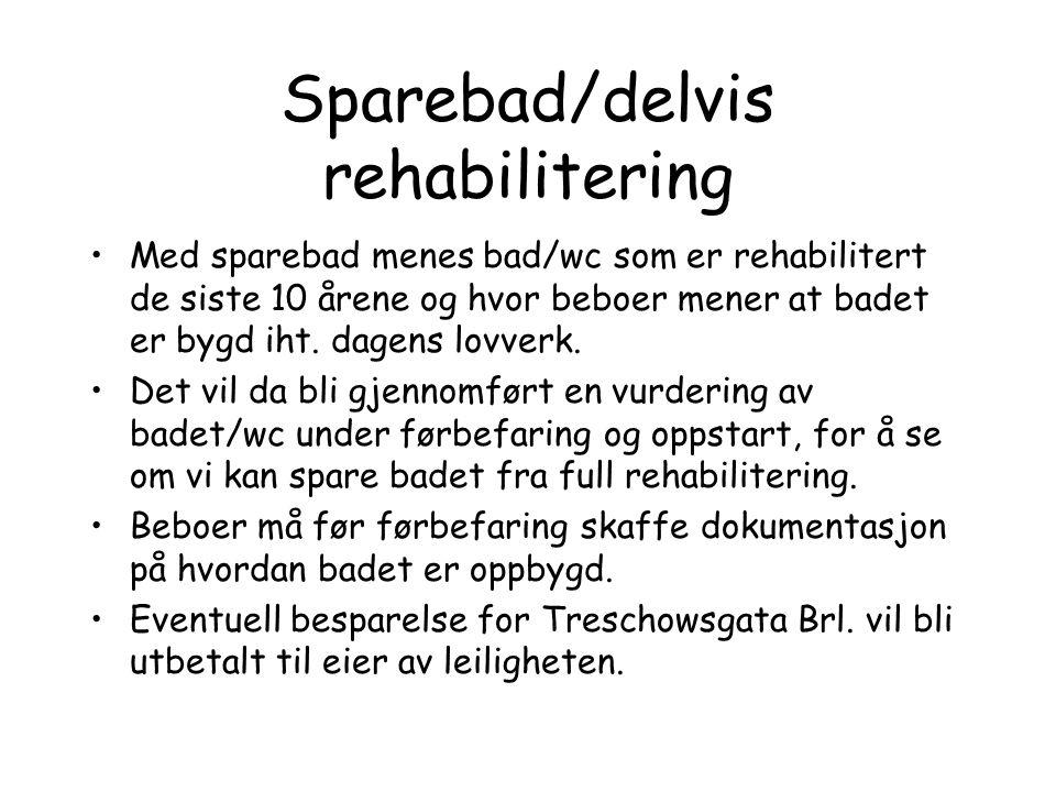 Sparebad/delvis rehabilitering Med sparebad menes bad/wc som er rehabilitert de siste 10 årene og hvor beboer mener at badet er bygd iht.