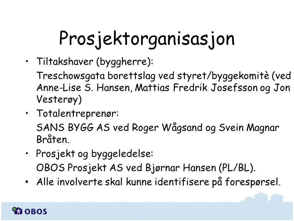 Tiltakshaver (byggherre): Treschowsgata borettslag ved styret/byggekomitè (ved Anne-Lise S.