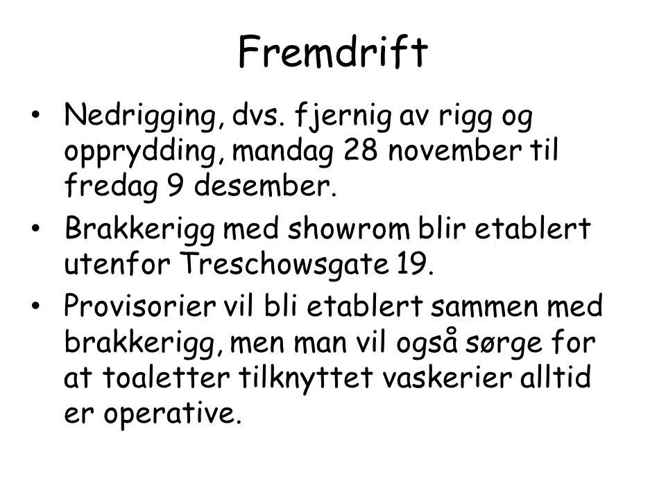Fremdrift Nedrigging, dvs. fjernig av rigg og opprydding, mandag 28 november til fredag 9 desember.