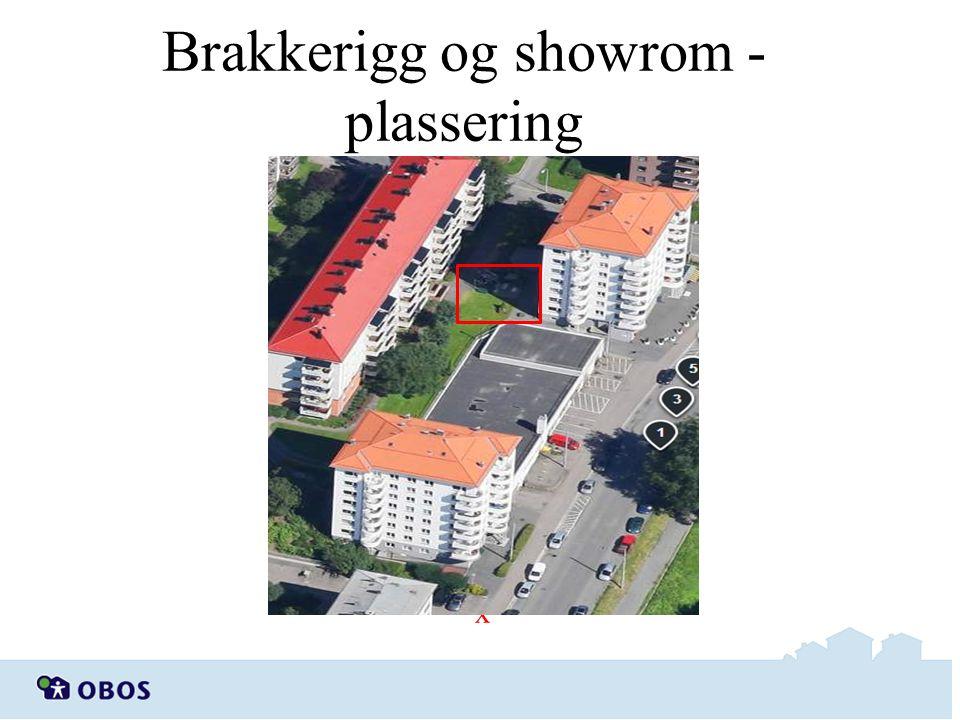 Brakkerigg og showrom - plassering Brakkerigg/ Showrom x