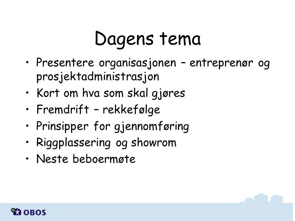 Presentere organisasjonen – entreprenør og prosjektadministrasjon Kort om hva som skal gjøres Fremdrift – rekkefølge Prinsipper for gjennomføring Rigg