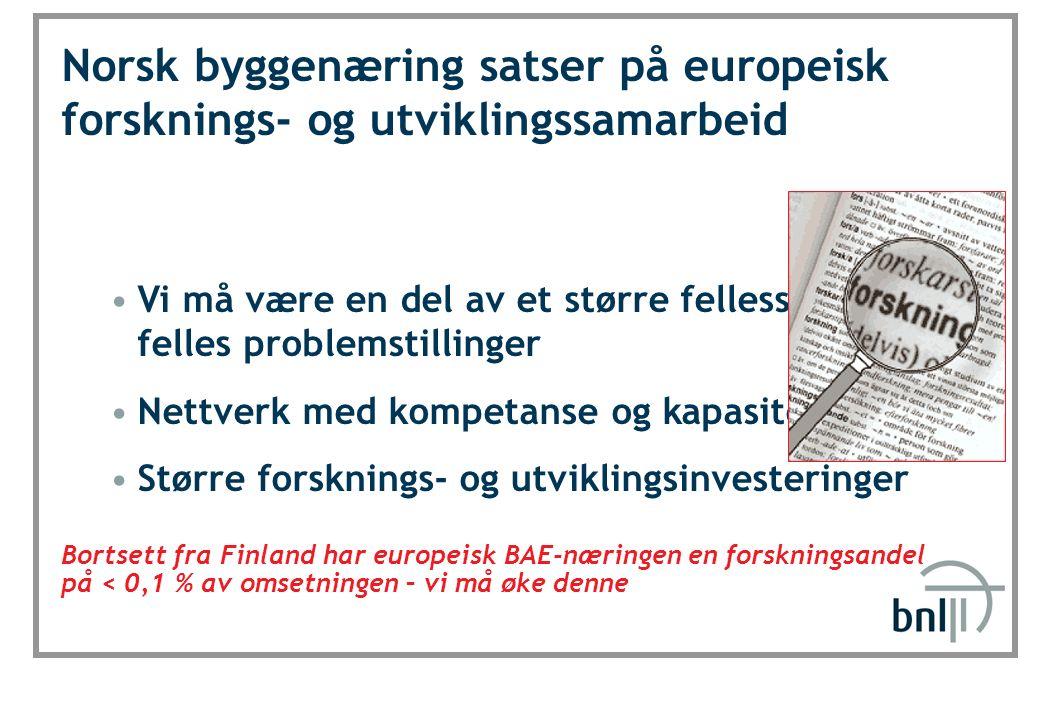 SINTEF Byggforsk Norsk byggenæring satser på europeisk forsknings- og utviklingssamarbeid Vi må være en del av et større fellesskap med felles problem