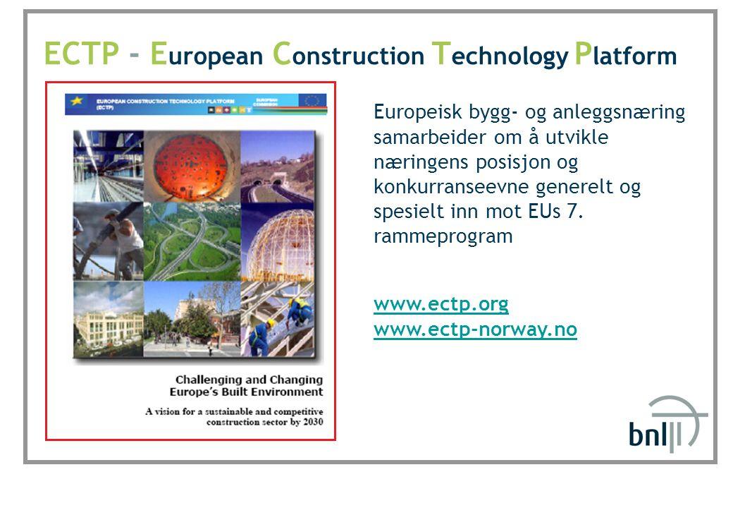 SINTEF Byggforsk ECTP - E uropean C onstruction T echnology P latform www.ectp.org www.ectp-norway.no Europeisk bygg- og anleggsnæring samarbeider om