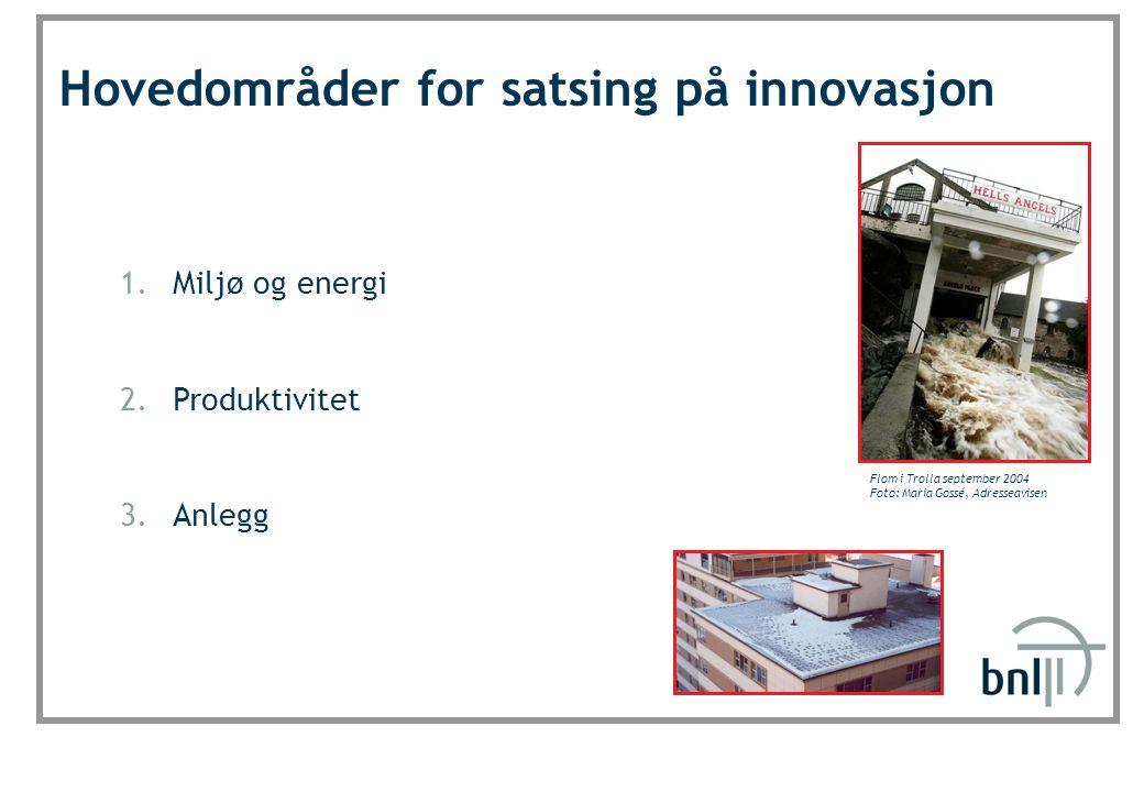 SINTEF Byggforsk Hovedområder for satsing på innovasjon 1.Miljø og energi 2.Produktivitet 3.Anlegg Flom i Trolla september 2004 Foto: Maria Gossé, Adresseavisen