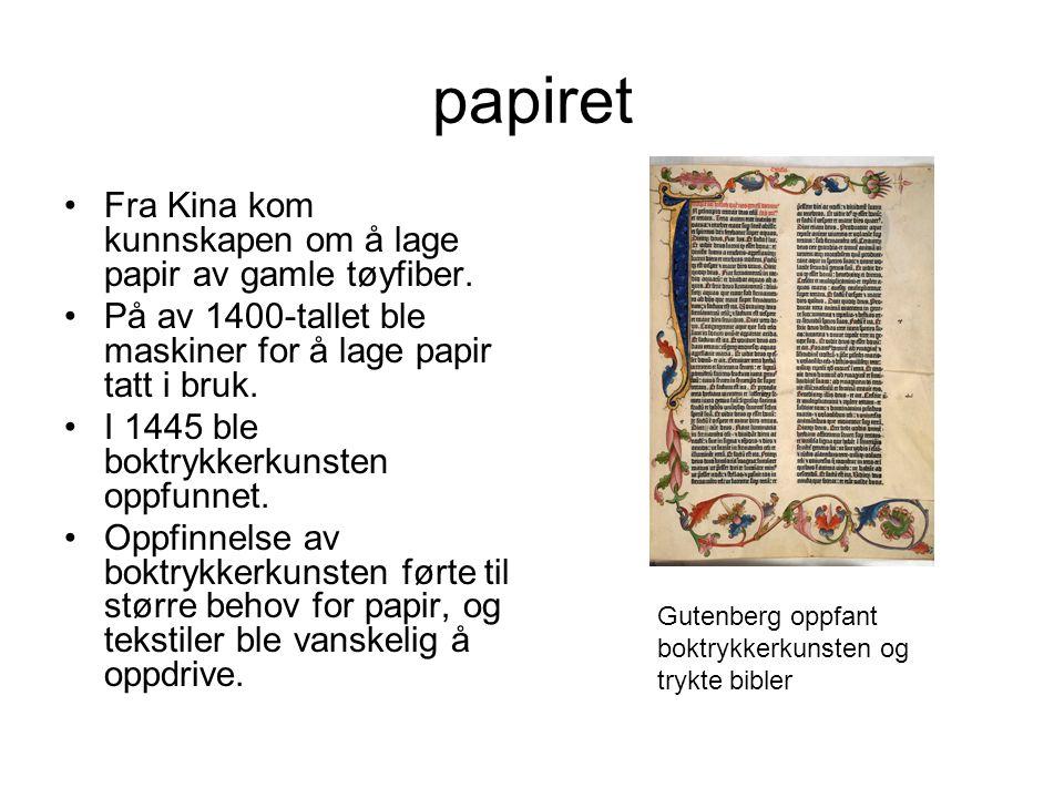 papiret Fra Kina kom kunnskapen om å lage papir av gamle tøyfiber.