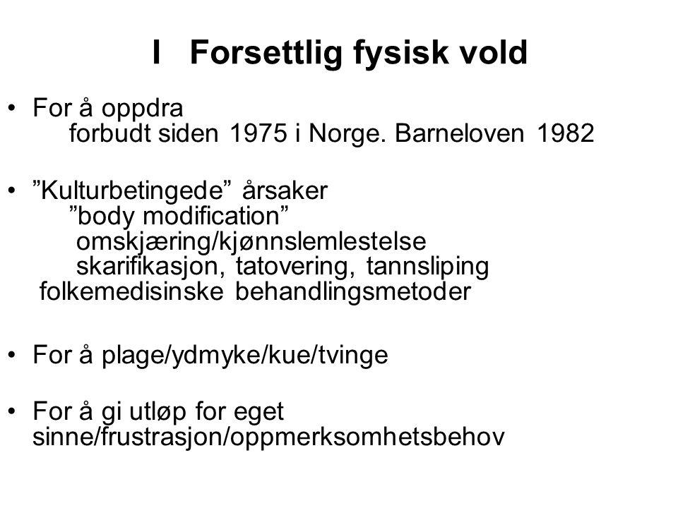 I Forsettlig fysisk vold For å oppdra forbudt siden 1975 i Norge.