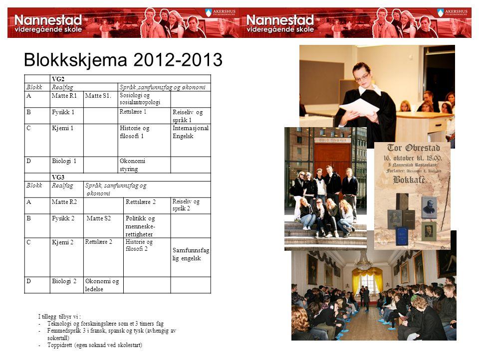Blokkskjema 2012-2013 VG2 BlokkRealfagSpråk,samfunnsfag og økonomi AMatte R1Matte S1. Sosiologi og sosialantropologi BFysikk 1 Rettslære 1 Reiseliv og