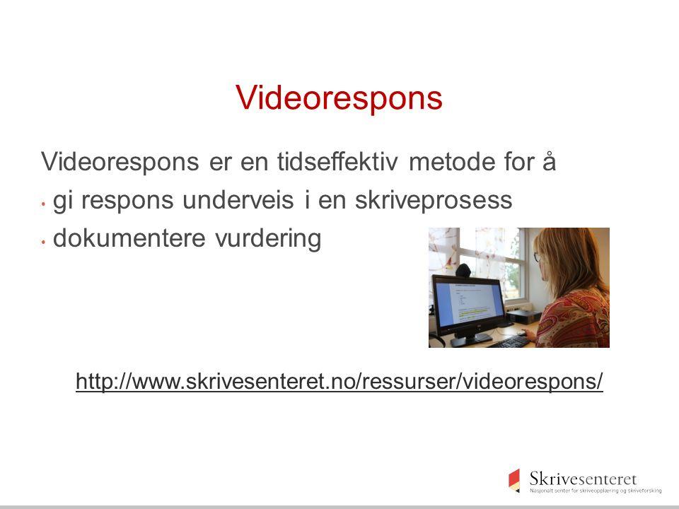 Videorespons Videorespons er en tidseffektiv metode for å gi respons underveis i en skriveprosess dokumentere vurdering http://www.skrivesenteret.no/ressurser/videorespons/