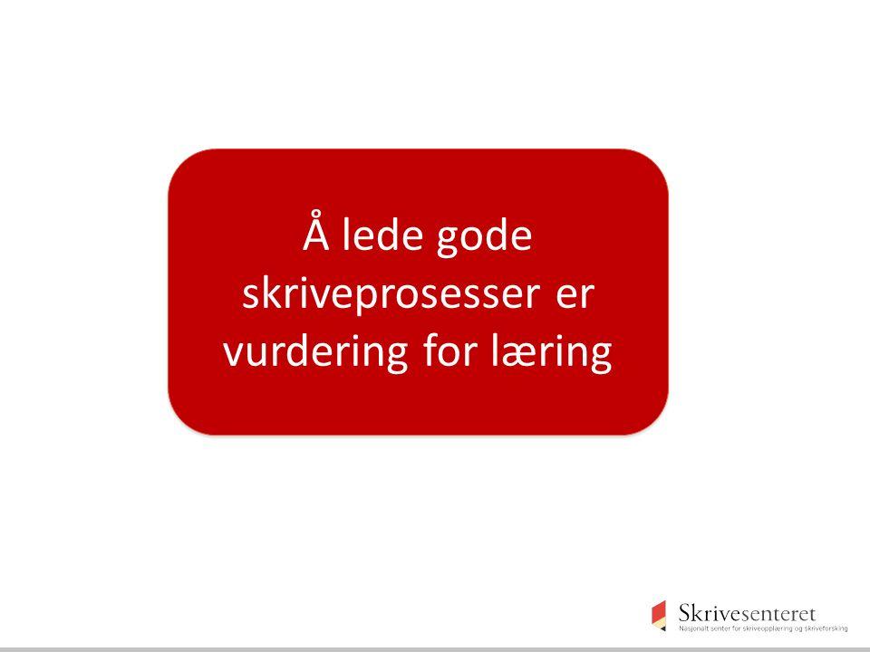 Å lede gode skriveprosesser er vurdering for læring