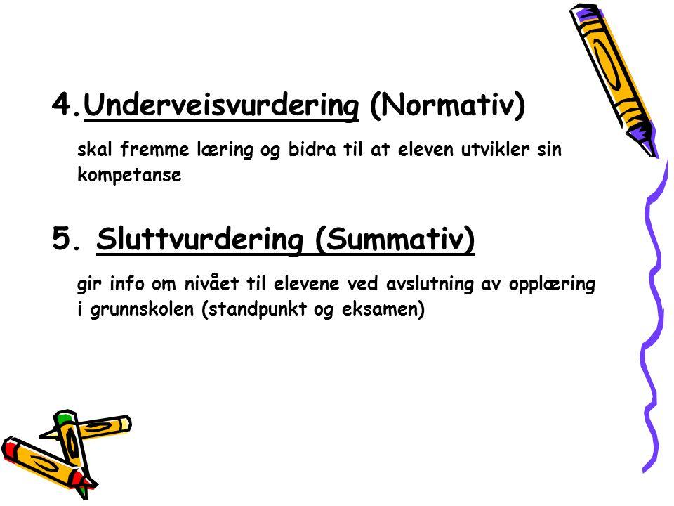 4.Underveisvurdering (Normativ) skal fremme læring og bidra til at eleven utvikler sin kompetanse 5. Sluttvurdering (Summativ) gir info om nivået til