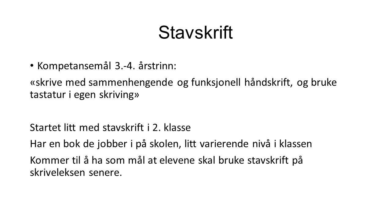 Stavskrift Kompetansemål 3.-4.