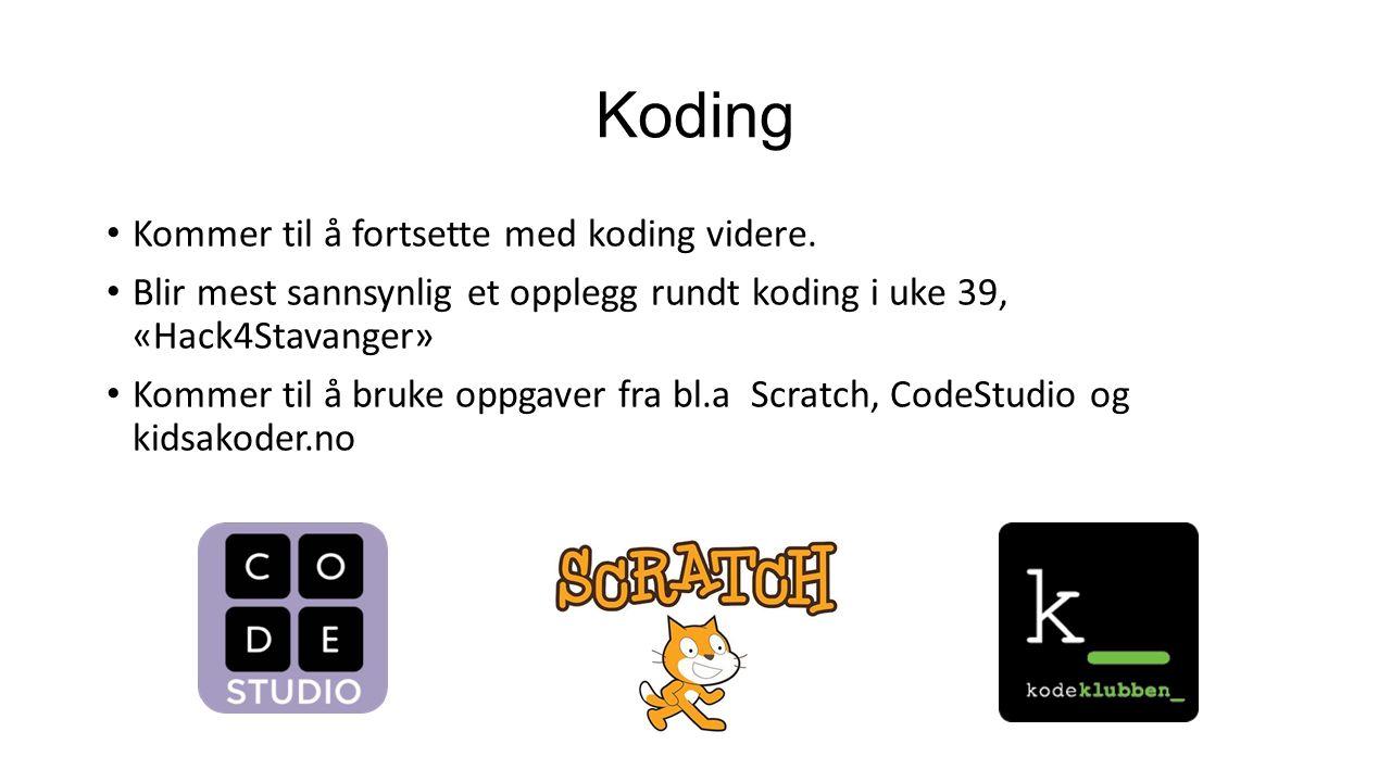 Koding Kommer til å fortsette med koding videre.