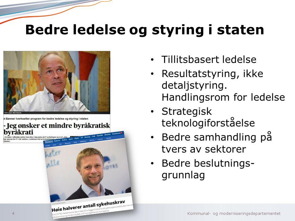 Kommunal- og moderniseringsdepartementet Norsk mal: To innholdsdeler - Sammenlikning Bedre ledelse og styring i staten Tillitsbasert ledelse Resultats