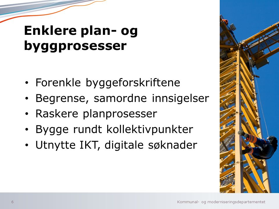 Kommunal- og moderniseringsdepartementet Norsk mal: Tekst uten kulepunkter Kommunereform 7 1964: Skole, skatt, sosial- trygdevesen, vei.