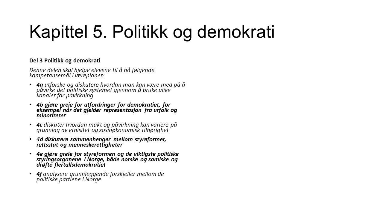 Kapittel 5.Politikk og demokrati Hva forbinder du med ordet politikk.
