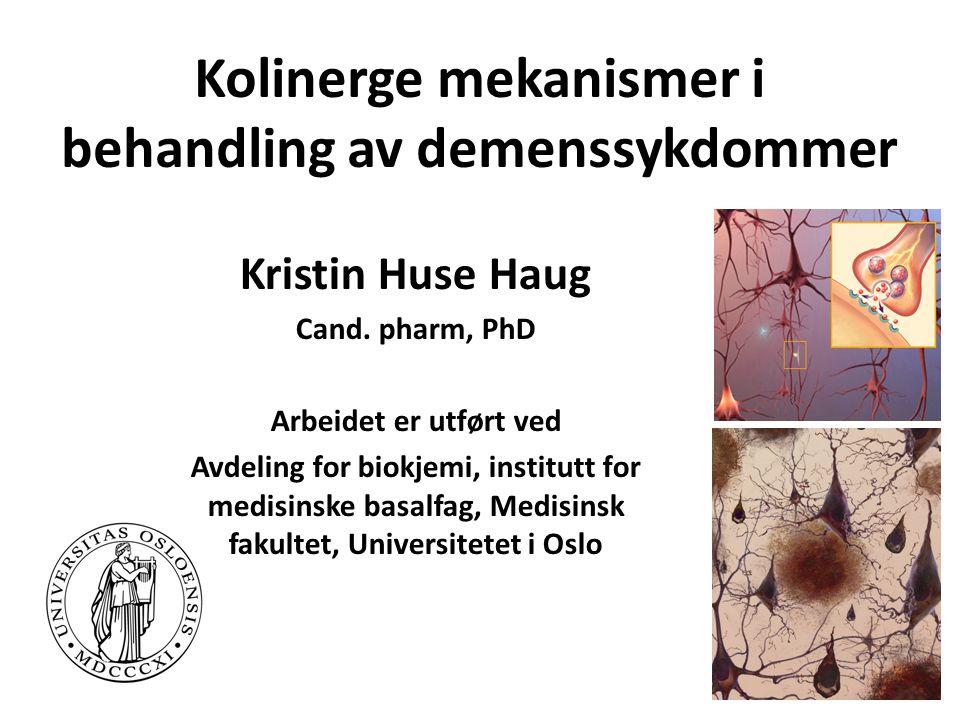 Kolinerge mekanismer i behandling av demenssykdommer Kristin Huse Haug Cand.